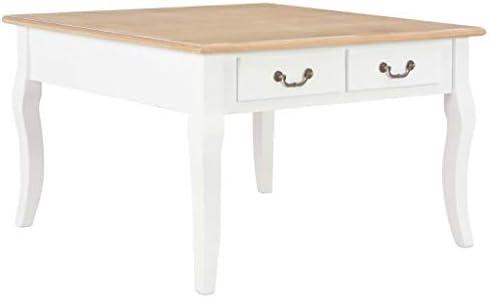 Beperk Korting Tidyard salontafel, woonkamertafel, bijzettafel, houten tafel, koffietafel met 4 laden, voor woonkamer, slaapkamer, wit, 80 x 80 x 50 cm  O9N55nm