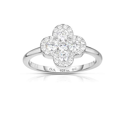 (Unique Royal Jewelry Solid 925 Sterling Silver Invisible Set Cubic Zirconia Four Leaf Clover Ring. (Rhodium-Plated Sterling Silver)