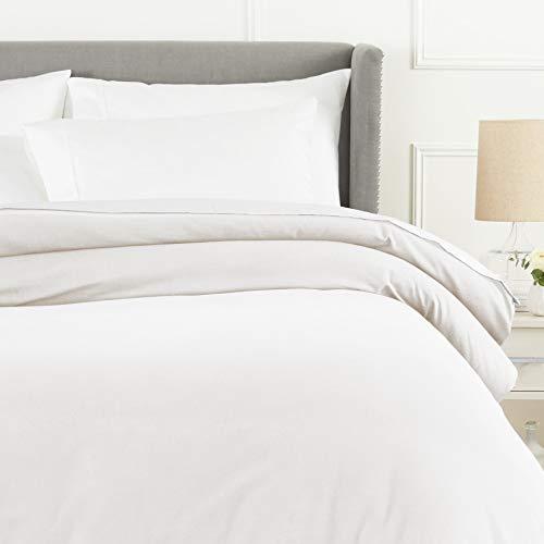 Pinzon 170 Gram Flannel Duvet Cover - Full/Queen, White (Tartan Sheets Flannel)