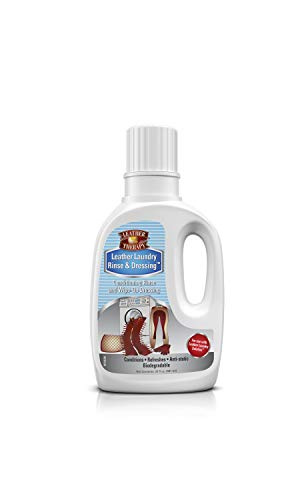 - Leather Therapy Leather Care Products - Leather Laundry Rinse & Dressing - Anti-Static Leather Conditioner for Machine Washing Leather Clothes, Natural Fleece, Wool & Sheepskin, 20 Ounce