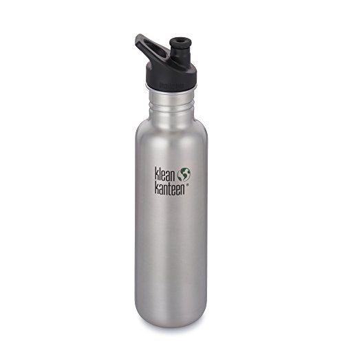 (Klean Kanteen Classic Stainless Steel Bottle with Sport Cap, Brushed Stainless - 27oz)
