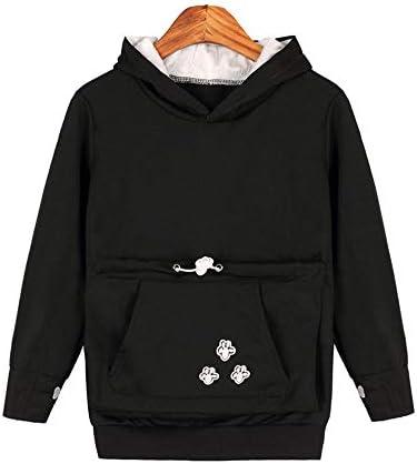 Kangaroo Hoodie Cat Lovers Hoodies Kangaroo Dog Pet Paw Ball Drawstring Pullovers Cuddle Pouch Sweatshirt Plush Pocket Animal Ear Hooded Outwear