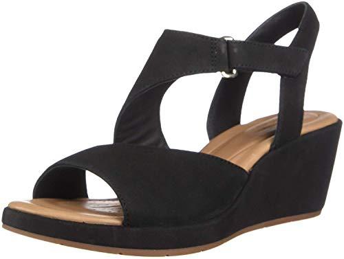 Clarks Sandals Nubuck (CLARKS Un Plaza Sling Women's Sandal, Black Nubuck, Size 11.0)