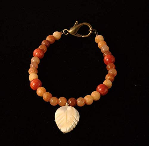 Bracelet - Red Aventurine, Yellow Marble, Coral, Shell, Beads, Pewter, Lobster Claw Clasp, Leaf, Carved, Orange, Stocking Stuffer
