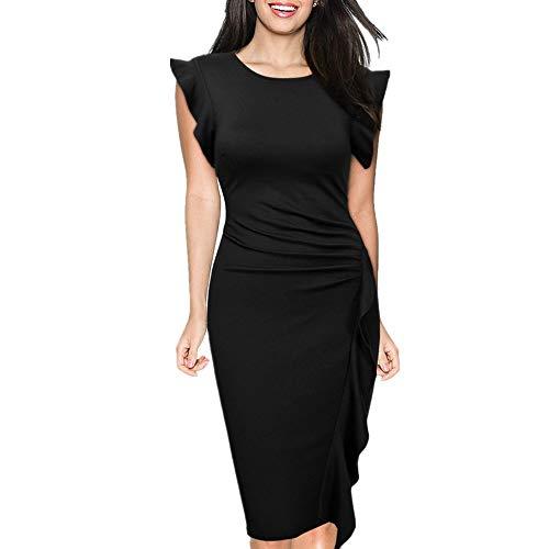 de Femmes Manches Isbxn Lotus Jupe la Sexy lgante L Black de Unie Feuille Robe Size Mince Taille col Red Couleur Rond Color wvqvI8r