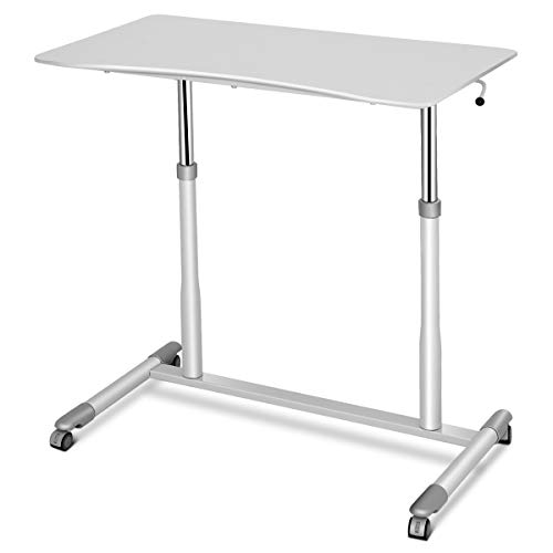 RELAX4LIFE-Standing-Desk-Height-Adjustable-with-Wheels-and-Stable-Steel-Pipe-Computer-Desk-for-Home-OfficeStudy-Room-Writing-Study-Laptop-Table-Sit-Stand-Desk-White