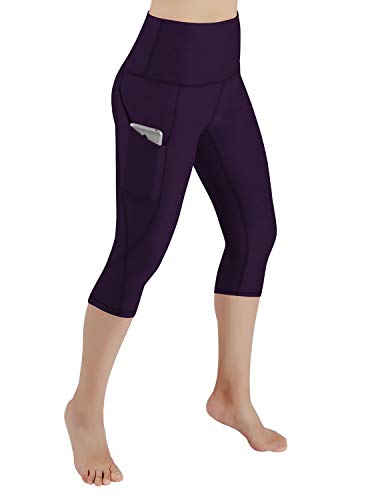 ODODOS High Waist Out Pocket Yoga Capris Pants Tummy Control Workout Running 4 Way Stretch Yoga Leggings,DeepPurple,Large