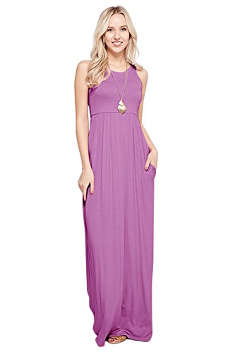Sportoli Maxi Dresses for Women Solid Lightweight Long Racerback Sleeveless W/Pocket -Lilac ()