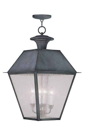 Livex Lighting 2174-61 Mansfield - Four Light Outdoor Hanging Lantern, Charcoal Finish with Seeded Glass