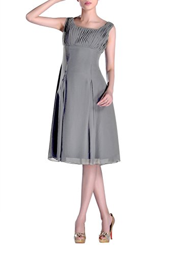Silk Pleated Dress (Adorona Bridesmaid Dress Knee Length Formal Pleated Mother Of The Brides Special Occasion, Color Pewter,12)