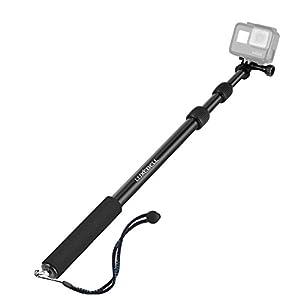 Luxebell Selfie Stick Adjustable Telescoping Monopod Pole for Gopro Hero 6 5, Session 5, Hero 4/3+/3/2 Fusion (Aluminum Black)