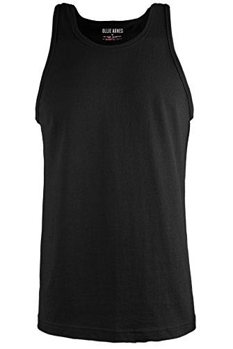 Ollie Arnes Men's Lightweight Muscle Shirt Basic Sleeveless Workout Tank Top TT001 BLACK XL (Black Muscle)