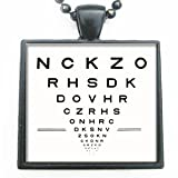Eye Doctor Eye Chart Symbol Glass in Black Tile Pendant Necklace with Black Chain