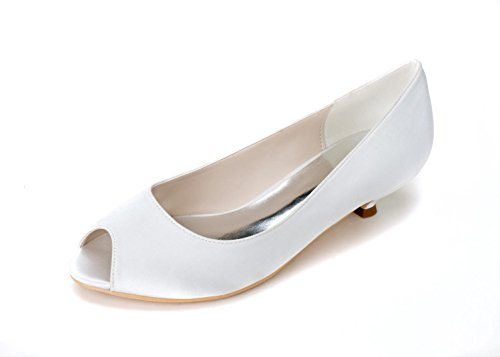 L@YC Female Wedding Shoes # 0700-01 Fish Mouth/Party/Silk/Clothes Comfortable Low Ivory White # White