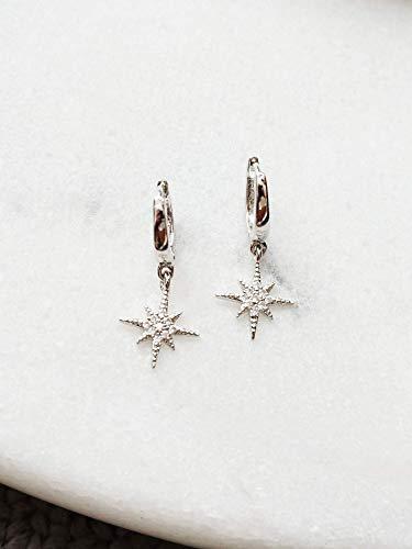 - Silver Celestial Star Huggie Hoops, Small Hoop Earrings, Star Charm Mini Hoop Earrings, Tiny Huggie Hoop Earrings