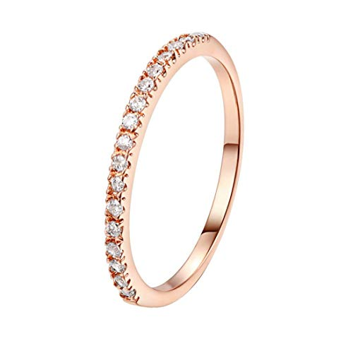 【MOHOLL】 14K Gold Plated Sterling Silver CZ Simulated Diamond Stackable Ring Eternity Bands for Women