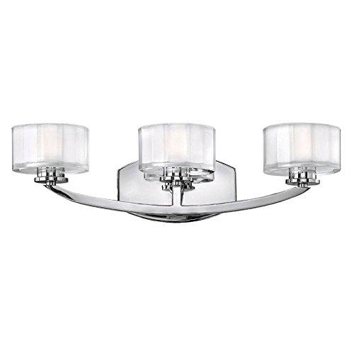 Chrome Hinkley Sconce (Hinkley 5593CM-LED, Meridian Glass Wall Sconce Lighting, 3 Light LED, Chrome)