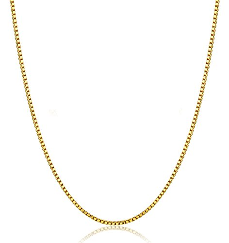 FUNRUN JEWELRY 18K Gold Plated 925 Sterling Silver 1mm Box Chain Necklace for Women Men Chain 26 Inch