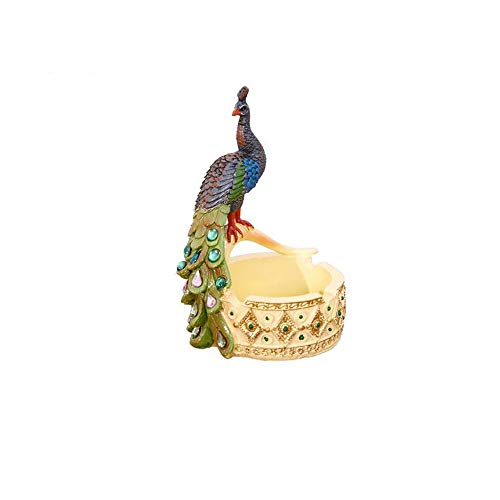 OWFRW Retro Style Personality Creative Peacock Ashtray Resin Craft Gift Holiday Decoration Ornament