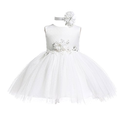 Moon Kitty Baby Girls Birthday Party Dress Christening Baptism Gown Dress for Baby Girl with Headband -