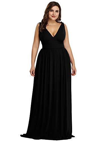 Ever-Pretty Womens Empire Waist Sleeveless V Neck Evening Party Dress 20 US Black ()