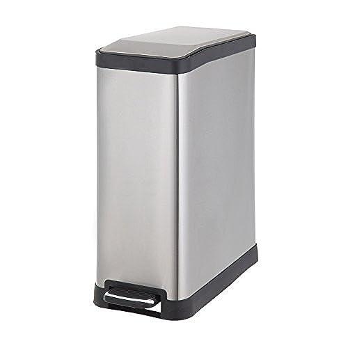 HomeZone 45 Liter Stainless Steel Rectangular Step Trash Can