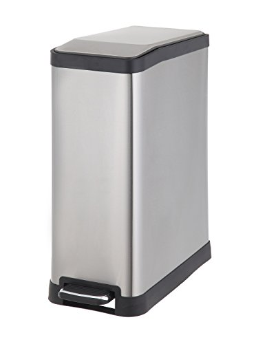 HomeZone 45-Liter Stainless Steel Rectangular Step Trash Can (Pedal Trash Can)