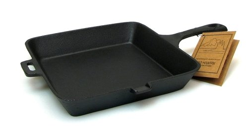 10.5 Inch Square Skillet - Made By Old Mountain and (Mountain Cast Iron Square Skillet)