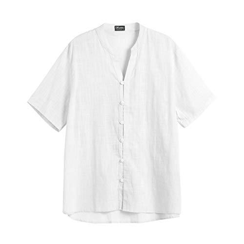 Chemise Grande Cher Couleur Style Taille En Top Chemises shirt Shirt Pas Coton T 8 Tee Casual Blanc Lâche Polo Marque Unie 2 Lin Homme Haut Blouse Winjin zqn55UxX