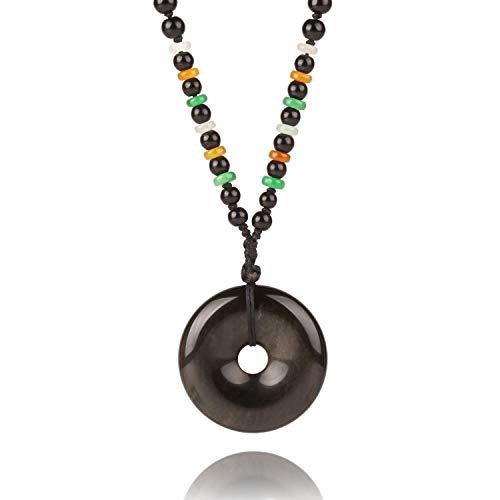 MATT HANN Rainbow Eye Obsidian Safety Circle Pendant Original Handmade Grounding Stone Protection (Golden Obsidian C)