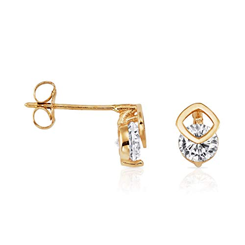 Solid 14k Yellow Gold Stud Earrings with Layered Open Square and CZ for Women