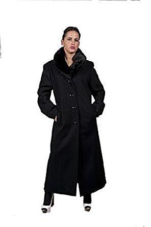 087bfecd7a9ed pour femmes laine Tactile Long manteau hiver avec col fourrure - Gris, EU 42