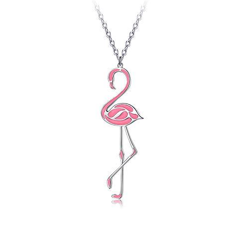 Pink Enamel Flamingo Bird Necklace Pierced Dangle Earrings Fashion wedding Necklace Earrings Party Jewelry (Pink Necklace)