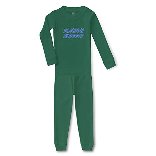 Fashion Blogger Cotton Crewneck Boys-Girls Infant Long Sleeve Sleepwear Pajama 2 Pcs Set Top and Pant - Kelly Green, 24 Months -