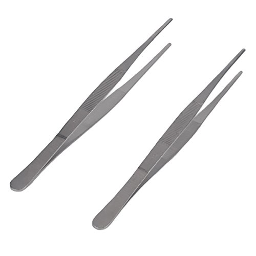 Long Handled Pickle (Zelta 10 Inch Food Tweezer Tong Serrated Blunt Tips Kitchen Seafood Tool Stainless Steel, 2 Pieces)