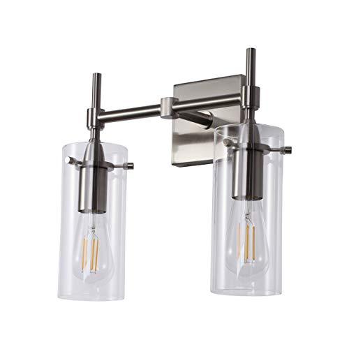 Effimero 2 Light Bathroom Vanity Light | Brushed Nickel Hallway Wall Sconce ()