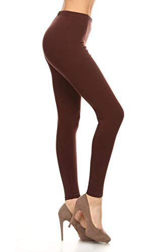 LDX128-Brown Basic Solid Leggings, Plus Size (Cute Outfits With Black Leggings And Brown Boots)
