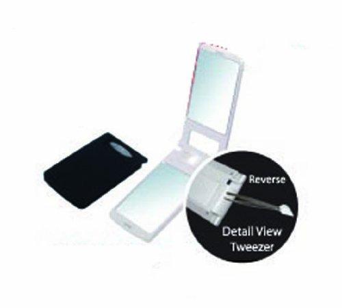Compact Tweezer - Rucci LED Light Compact Mirror With Tweezer, 1X/3X