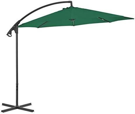 カンチレバーの傘とスチールポール300 cmグリーンホームガーデンローンガーデンアウトドアリビングアウトドアパラソルサンシェード