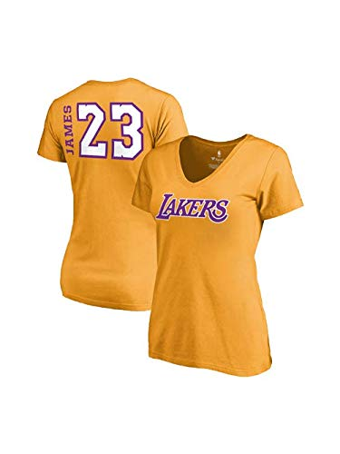 cf18d6004ae9 Fanatics Women s Los Angeles Lakers Lebron James Side Sweep Player V-Neck  Small Gold
