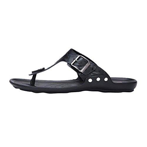 Cuero Summer Flop Beach Holiday Libre On para Informal Zapatillas Chanclas Tanga Home Hombre B Sandalias al Negro para Flip Planas Aire de Hombres Slip Juleya Ex0AY4qwzn