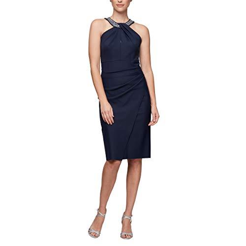 Alex Evenings Women's Short Sheath Slimming Stretch Halter Neck Dress, Navy, 14 ()
