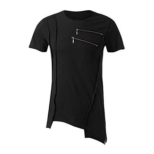 iHPH7 T-Shirt Men Short Sleeve Heavyweight Crew Neck Pocket Tee Men Featured Pleated Zipper Irregular Round Collar Slim and Elastic T-Shirt XL Black -
