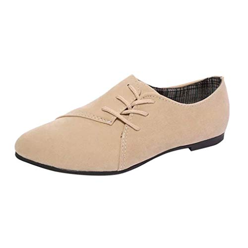 Toponly Retro Loafers Oxfords Women's Muller Shoes Lace-Up Casual Low-top Canvas Flats Single Ladies Work Nurse Shoes Beige