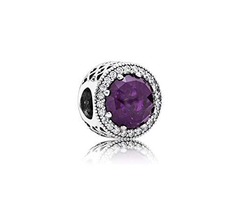 MiniJewelry Radiant Hearts Charm for Bracelets, Purple CZ February Birthstones (February Birthstone Heart Charm)