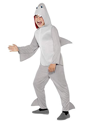 Smiffys Children's Unisex All In One Shark Costume, Jumpsuit with Hood and Fins, Party Animals, Ages 7-9, Size: Medium, Color: Grey, 44071