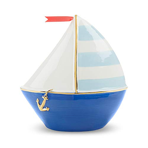 (Baby Aspen Nautical Sailboat Porcelain Piggy Bank, White/Navy/Light)