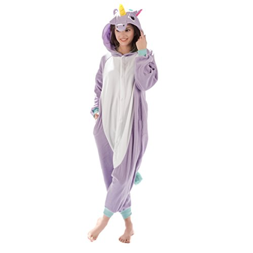 Emolly Fashion Adult Unicorn Animal Onesie Costume Pajamas for Adults and Teens (Medium, Purple)