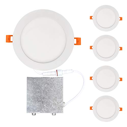 OSTWIN 6 inch 15W (80 Watt Repl.) IC Rated LED Recessed Low Profile Slim Round Panel Light with Junction Box, Dimmable, 4000K Bright light 1125 Lm. No Can Needed (4 Pack) ETL & Energy Star Listed