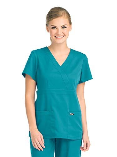 Grey's Anatomy 4153 Women's Mock Wrap Top Teal XS